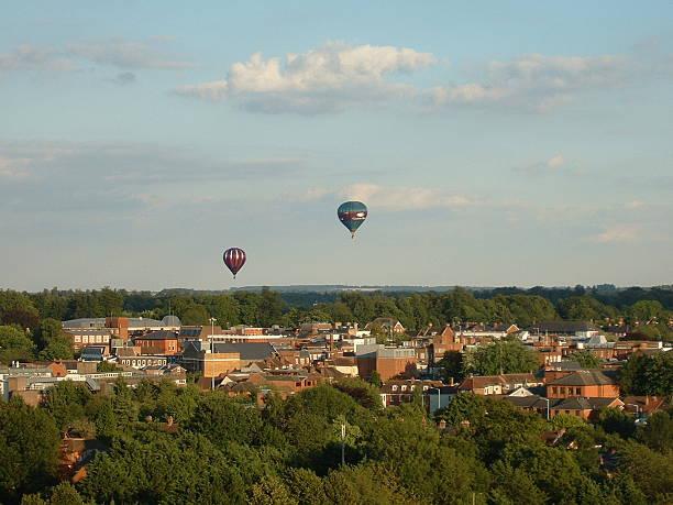 Balloons over Basingstoke stock photo