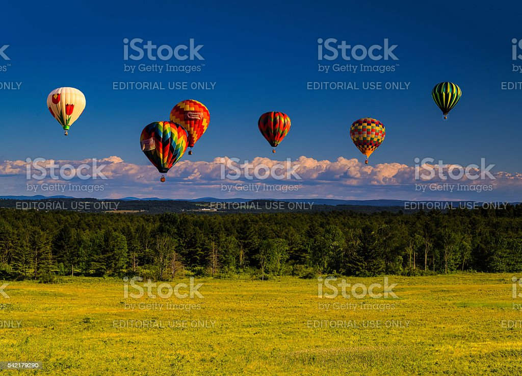 Balloons over Saratoga mid afternoon overlooking Berkshires stock photo