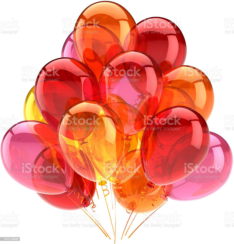 Balloons party decoration colored red orange pink royalty-free stock photo