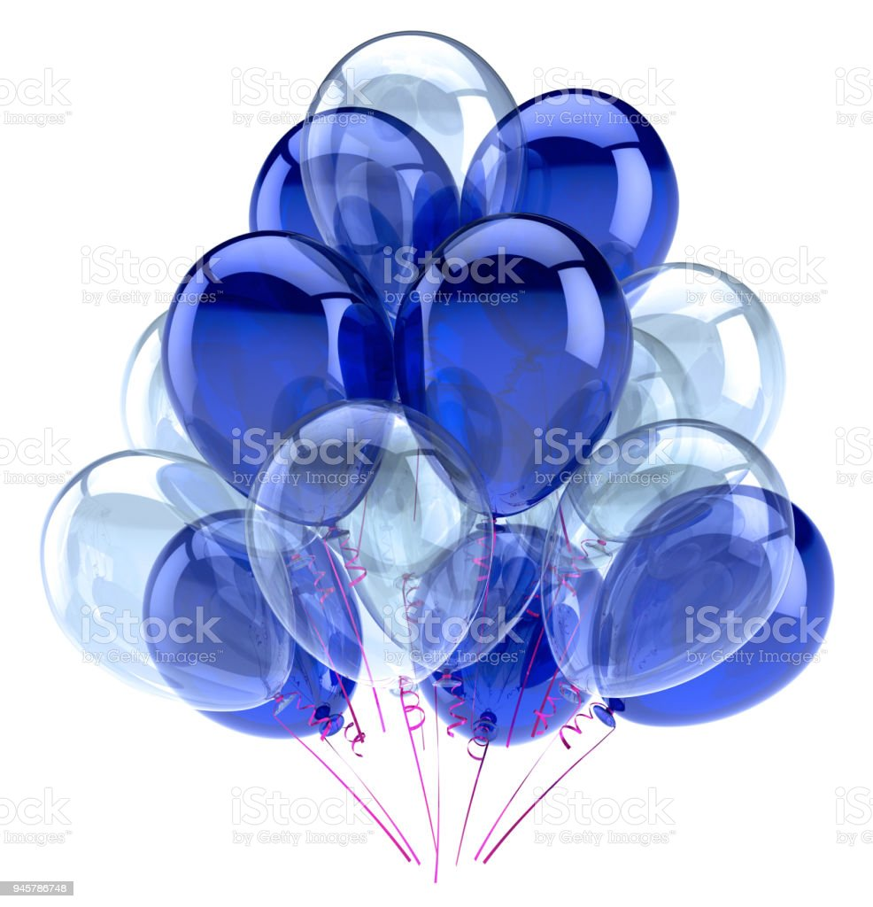Balloons party happy birthday decoration blue white glossy stock photo