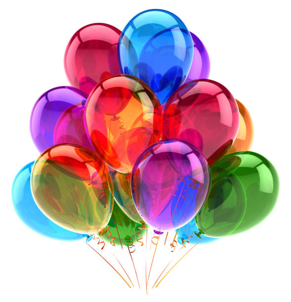 Balloons party happy birthday decoration multicolored glossy stock photo