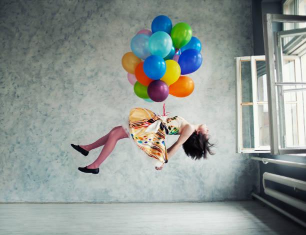 balões - mulher balões imagens e fotografias de stock