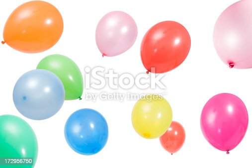 mid-air balloons on white