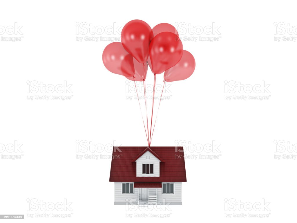 Balloons Raising Up an House Isolated. royalty-free stock photo