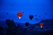 Balloons take off in the morning in Cappadocia