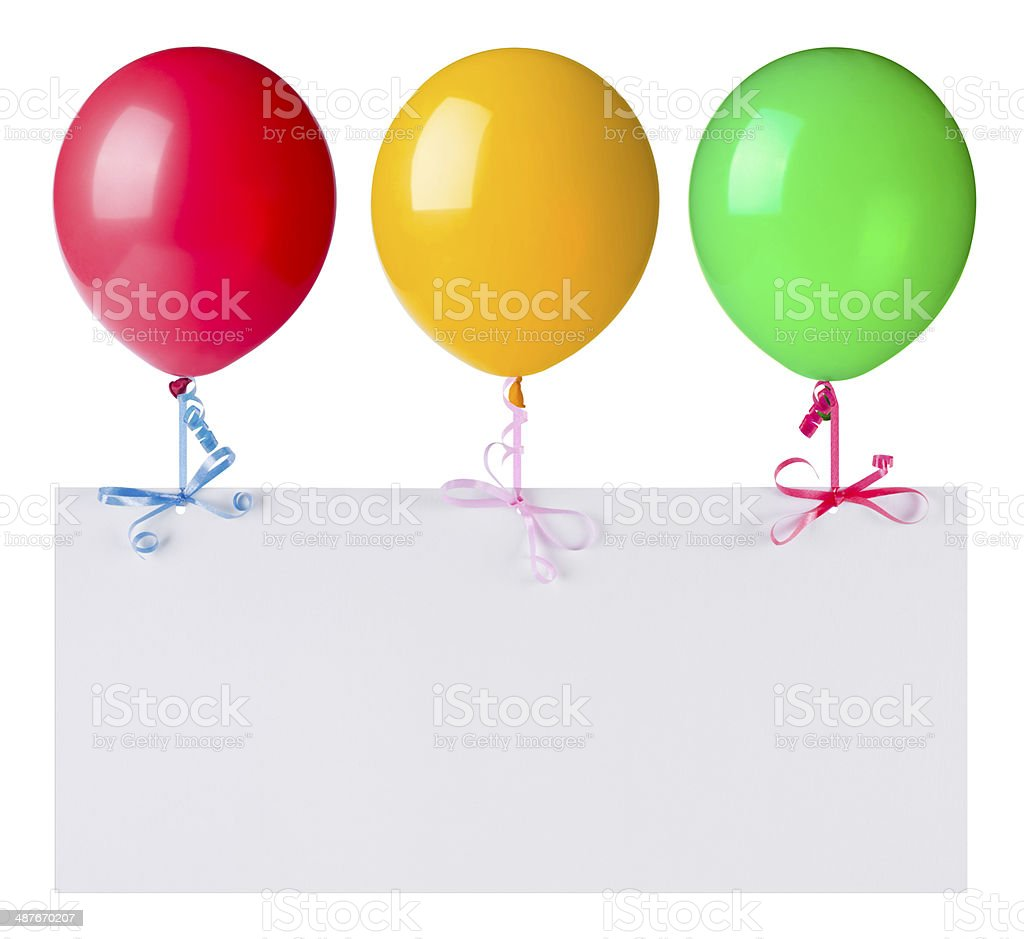 Balloons with banner isolated on white stock photo