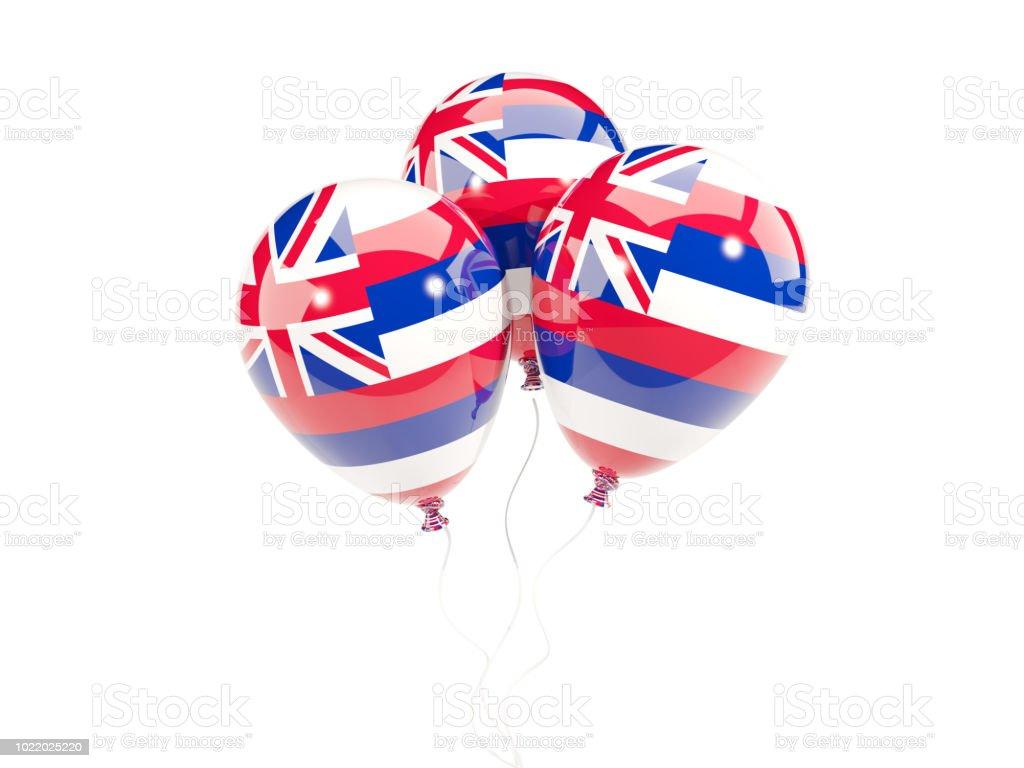 Balões com bandeira do Havaí. Bandeiras de locais dos Estados Unidos - foto de acervo