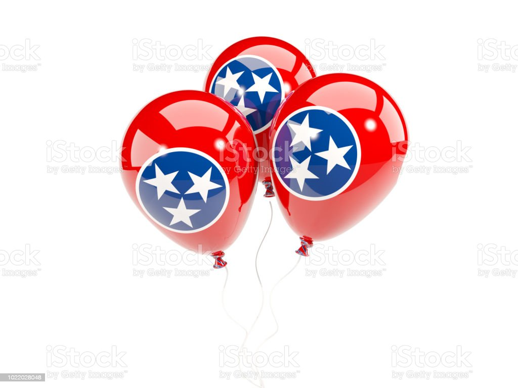 Balões com bandeira do tennessee. Bandeiras de locais dos Estados Unidos - foto de acervo