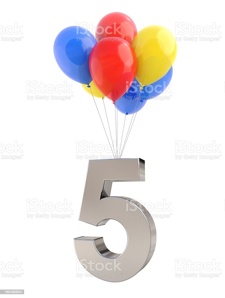 Balloons with Number 5 stock photo