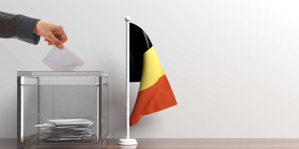 ballot box and a small belgium flag. 3d illustration - grecia stato foto e immagini stock