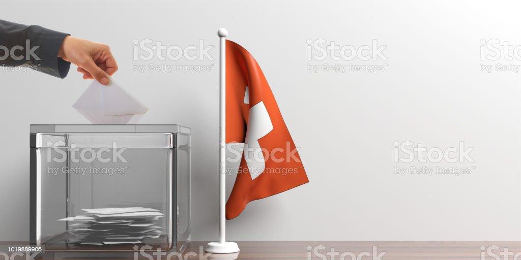 Wahlurne und eine kleine Flagge in der Schweiz. 3D illustration – Foto