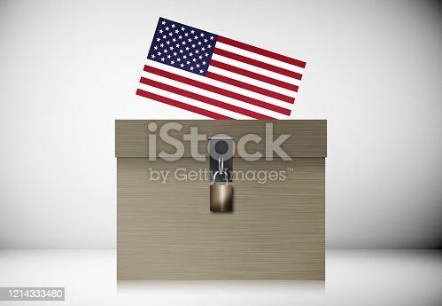 1001757106 istock photo Ballot Box And American Flag. Election concept. 1214333480