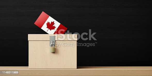 istock Ballot Box And Canadian Flag Textured Vote In Front Of Blackboard 1146511969