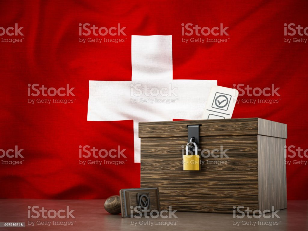 Wahlurne und Stempel auf Schweizer Flagge Hintergrund stehend – Foto