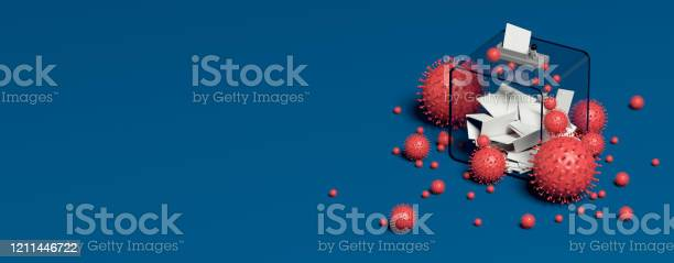 Ballot Box And Viruses Blue Background 3d Rendering Stock Photo - Download Image Now