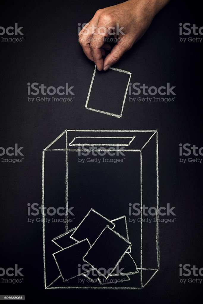 ballot box on a blackboard - Photo