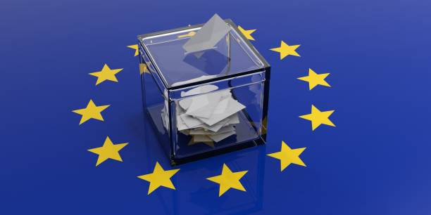ballot box on a european union flag. 3d illustration - grecia stato foto e immagini stock