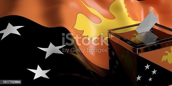 istock Ballot box on Papua New Guinea flag background, 3d illustration 1017702894