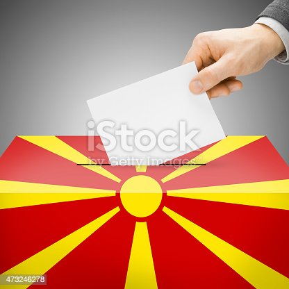 935056316 istock photo Ballot box painted into national flag - Republic of Macedonia 473246278