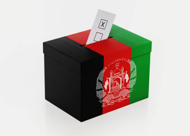 Ballot Box Textured with Afghani Flag stock photo