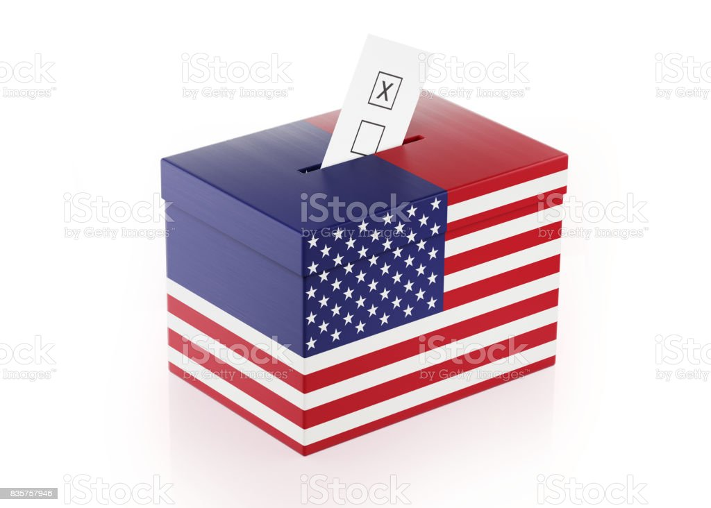 Ballot Box Textured with American Flag stock photo