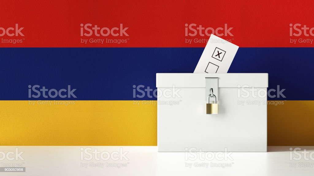 Ballot Box Textured with Armenian Flag stock photo