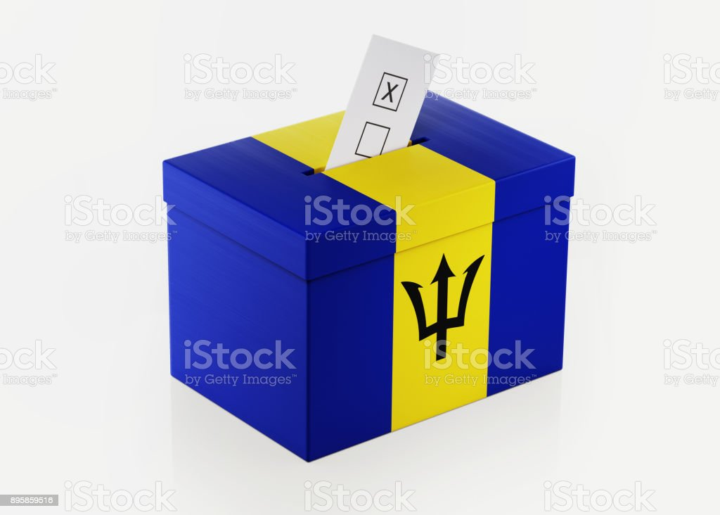 Ballot Box Textured with Barbados Flag stock photo