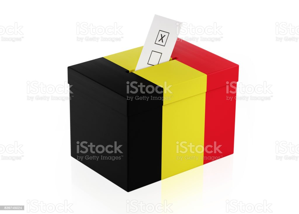 Ballot Box Textured with Belgian Flag stock photo