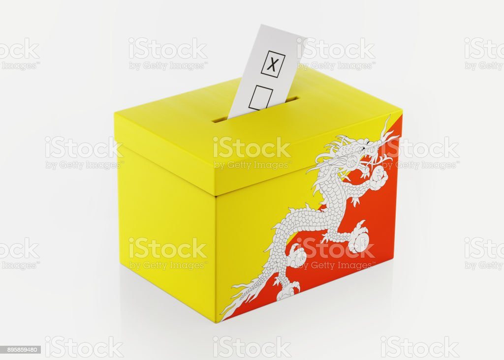 Ballot Box Textured with Bhutan Flag stock photo