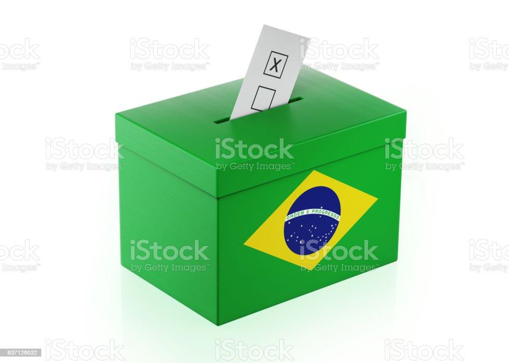 Ballot Box Textured with Brazilian Flag stock photo