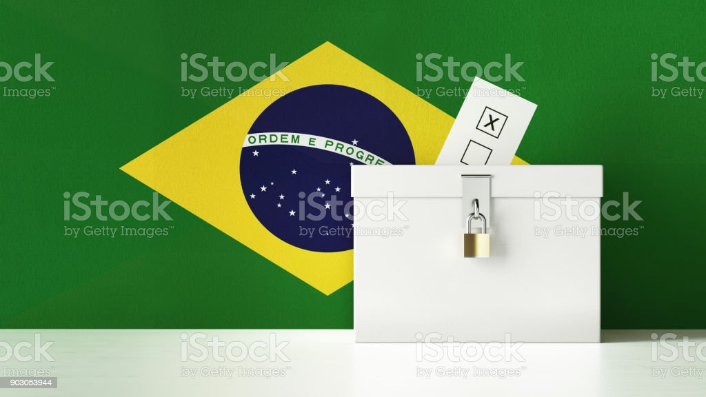 Ballot Box Textured with Brazilian Flag stock photo