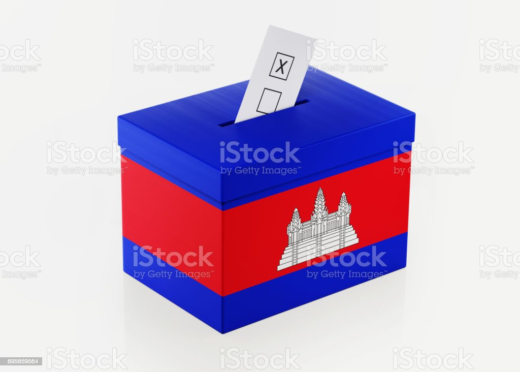 Ballot Box Textured with Cambodian Flag stock photo