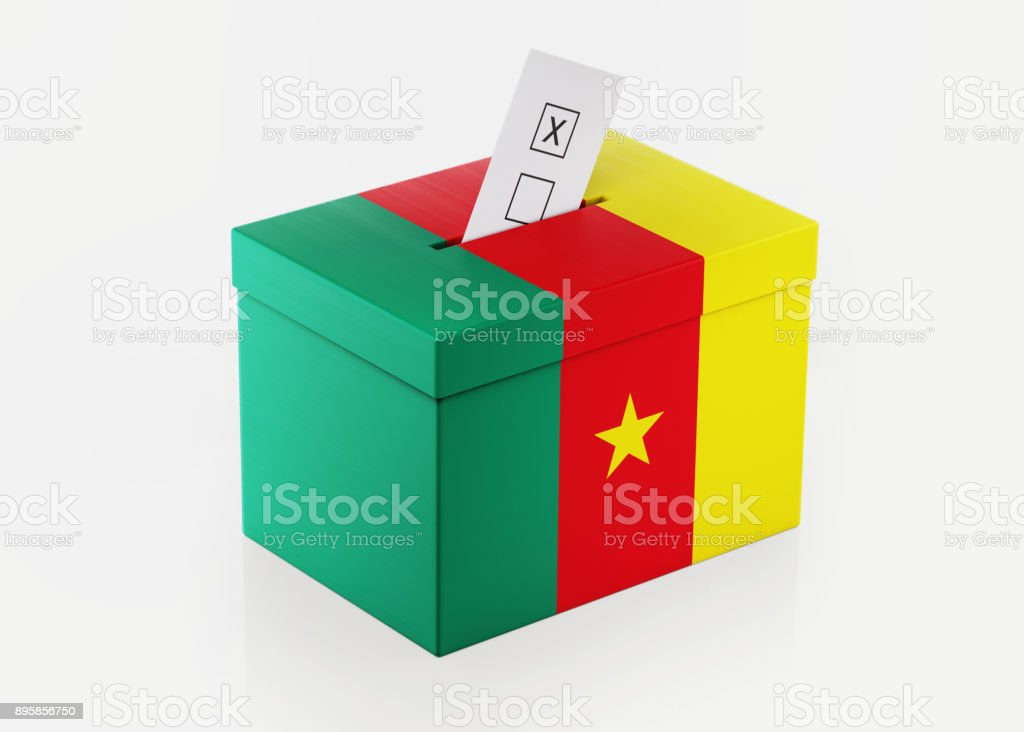 Ballot Box Textured with Cameroon Flag stock photo
