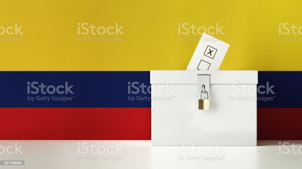 Ballot Box Textured with Colombian Flag stock photo