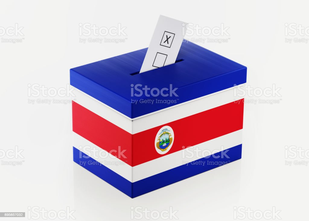 Ballot Box Textured with Costa Rican Flag stock photo