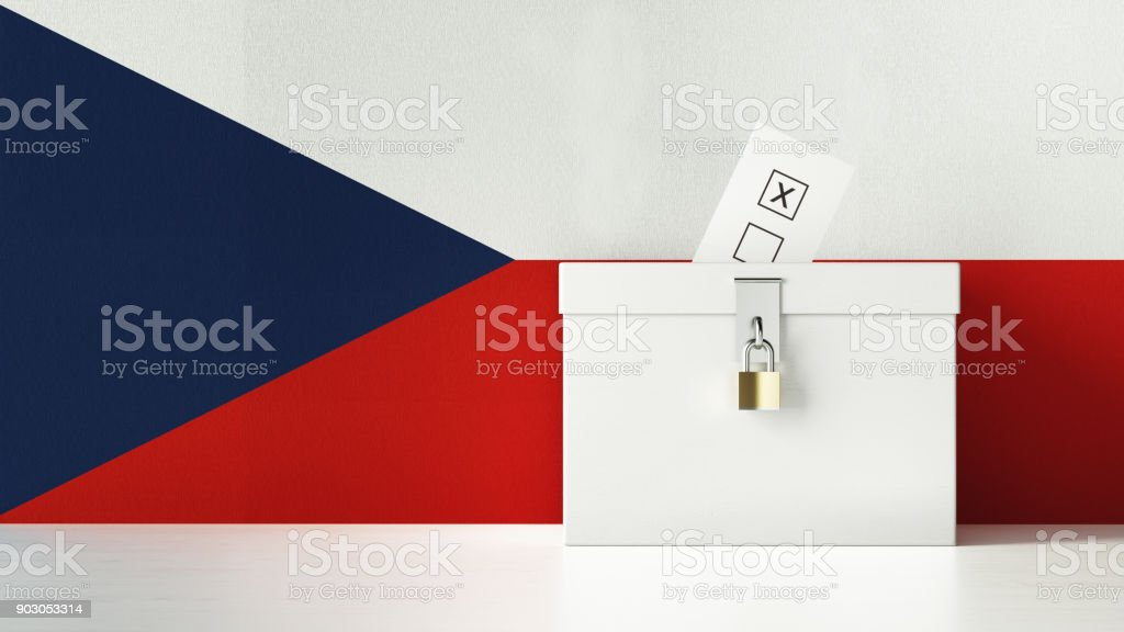 Ballot Box Textured with Czech Flag stock photo