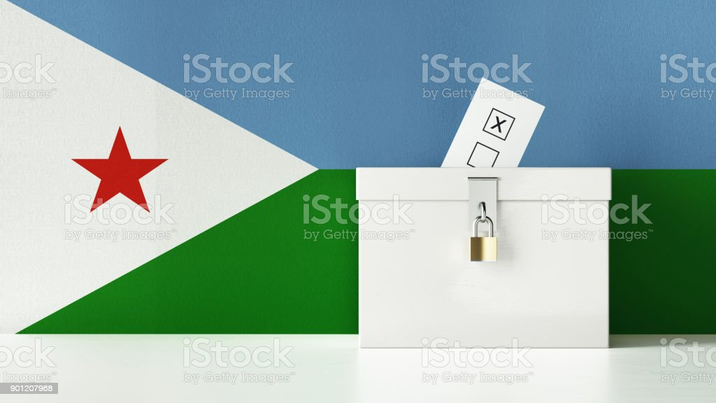 Ballot Box Textured with Djibouti Flag stock photo