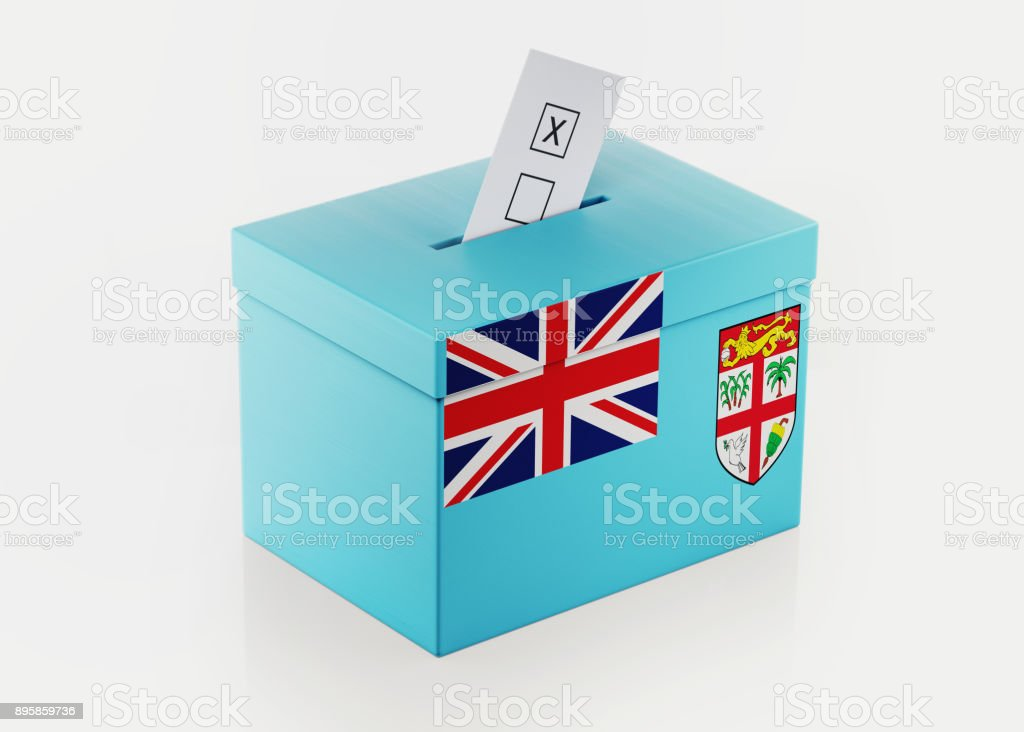 Ballot Box Textured with Fijian Flag stock photo
