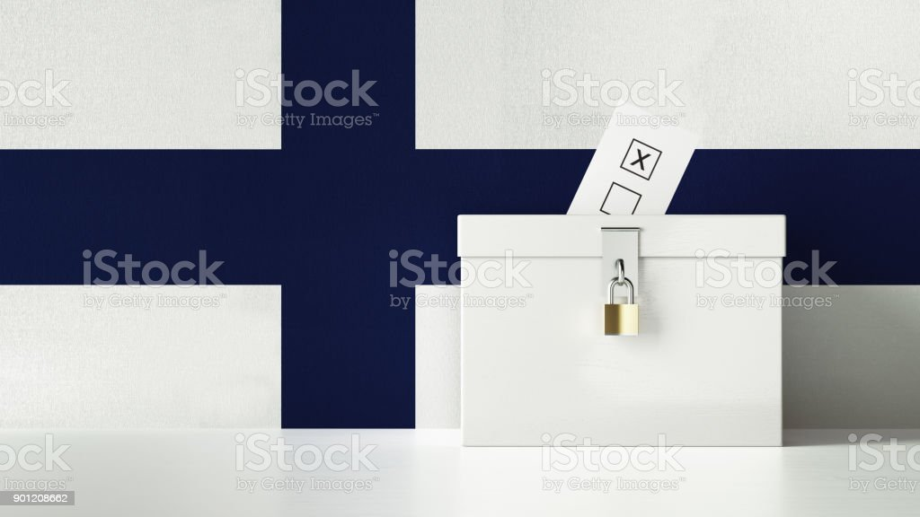 Ballot Box Textured with Finnish Flag stock photo