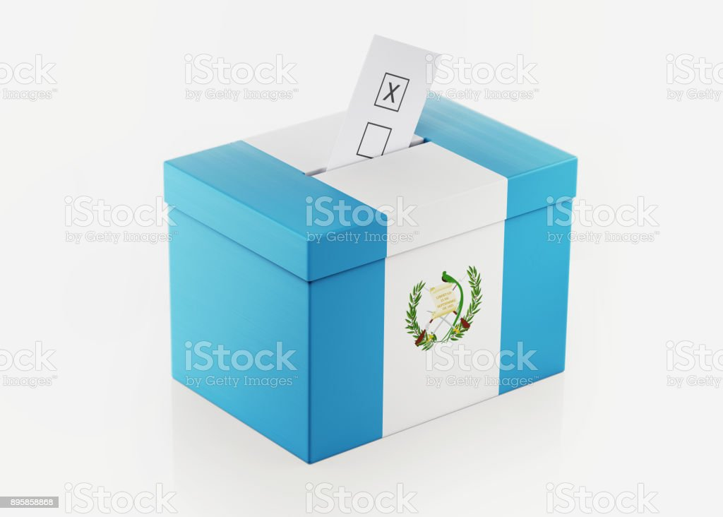 Ballot Box Textured with Guatemalan Flag stock photo