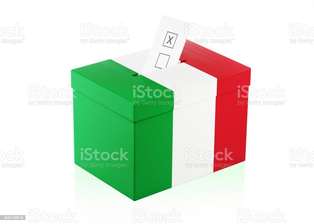 Ballot Box Textured with Italian Flag stock photo