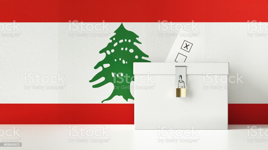 Ballot Box Textured with Lebanese Flag stock photo