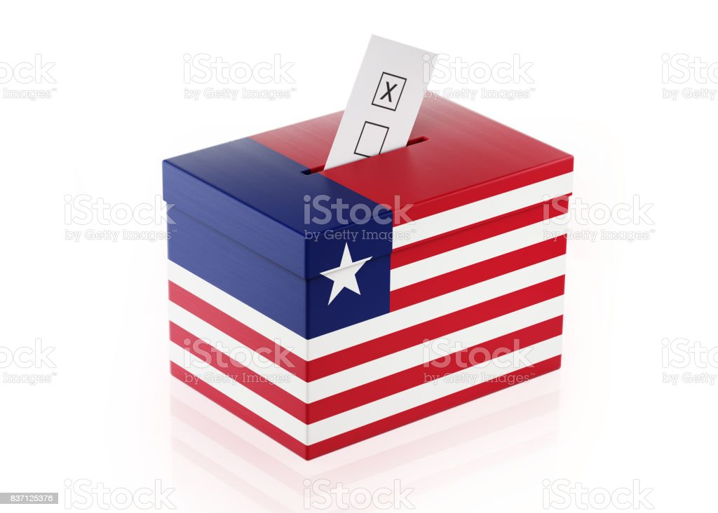 Ballot Box Textured with Liberian Flag stock photo