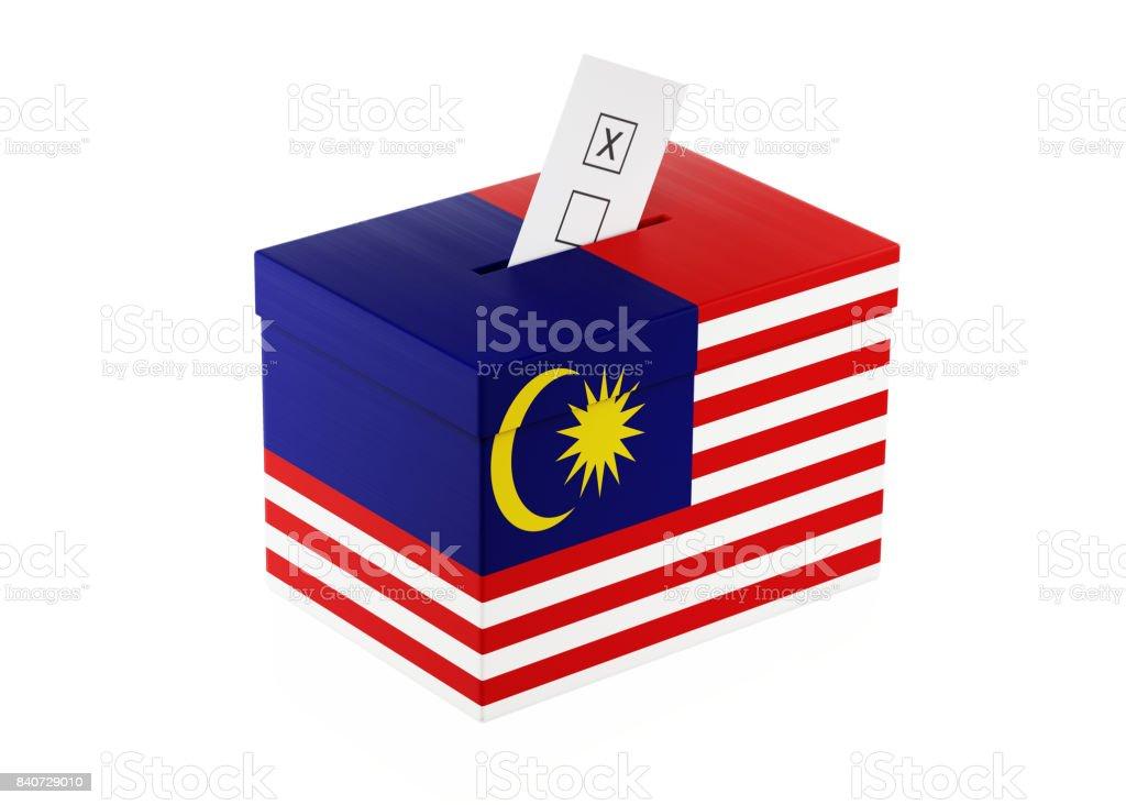 Ballot Box Textured with Malaysian Flag stock photo