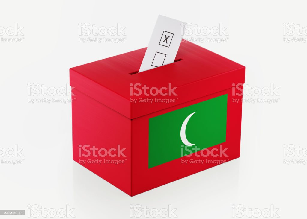 Ballot Box Textured with Maldives Flag stock photo
