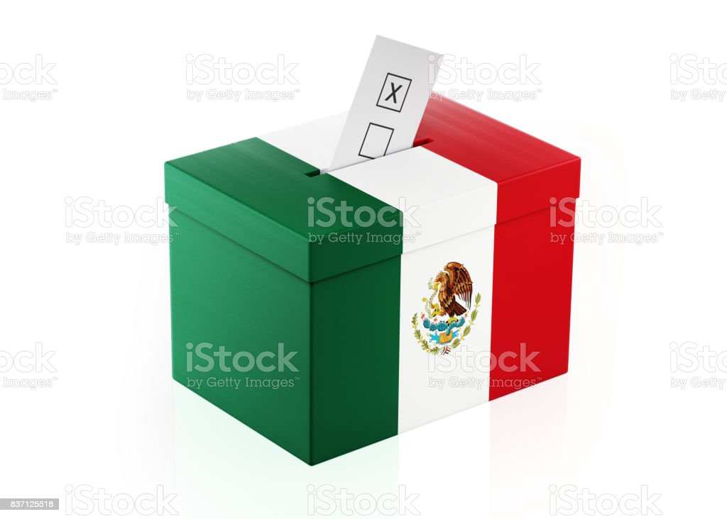 Ballot Box Textured with Mexican Flag stock photo