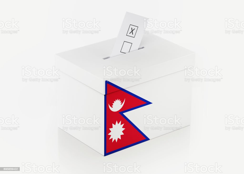 Ballot Box Textured with Nepali Flag stock photo