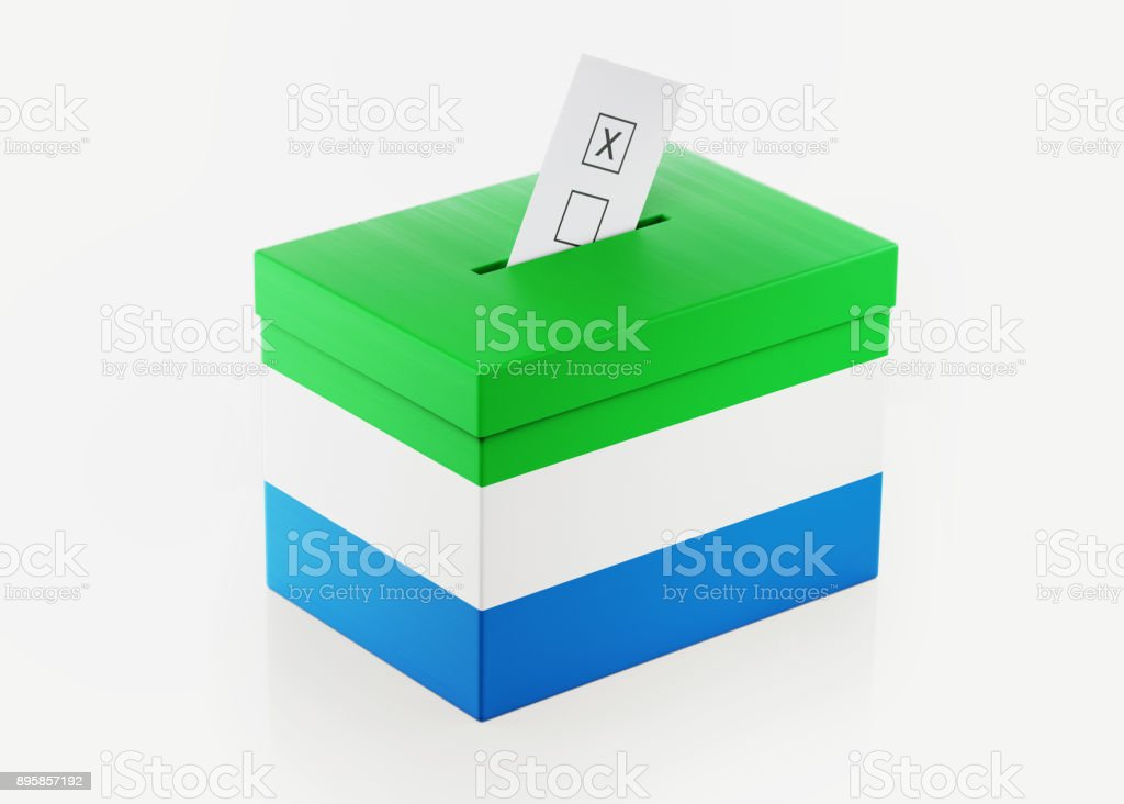 Ballot Box Textured with Sierra Leone Flag stock photo