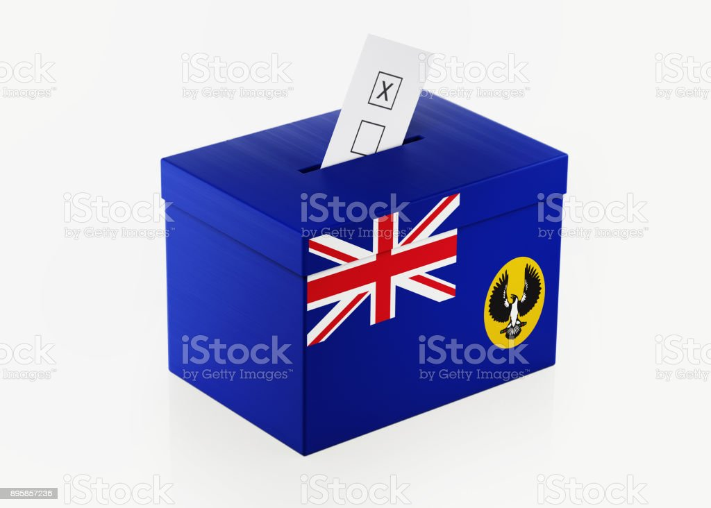 Ballot Box Textured with South Australian Flag stock photo