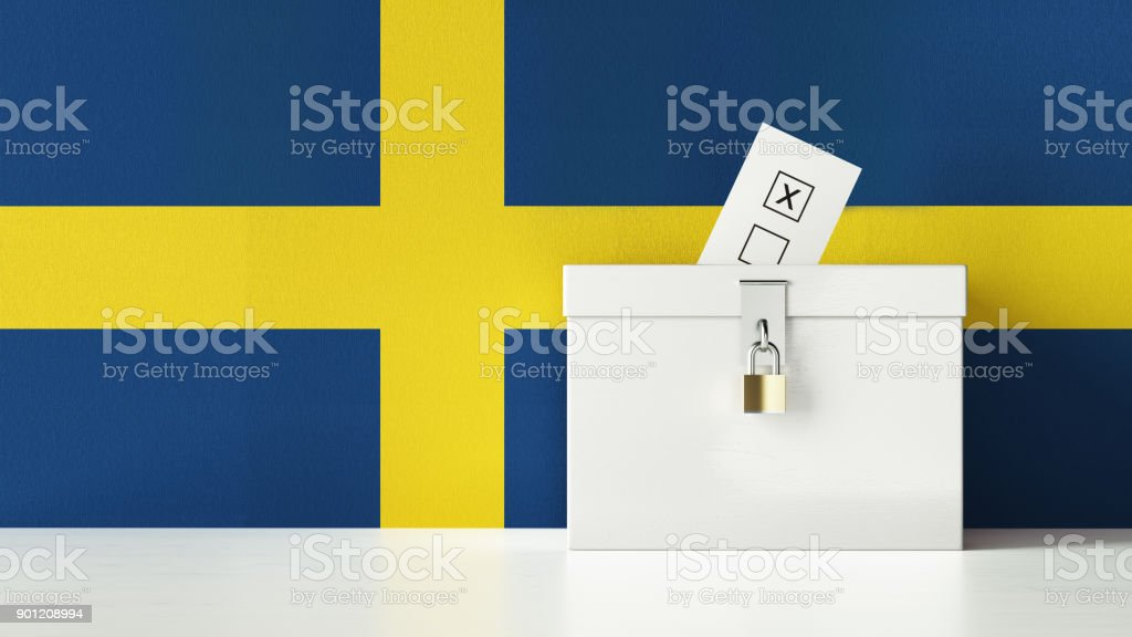 Ballot Box Textured with Swedish Flag stock photo